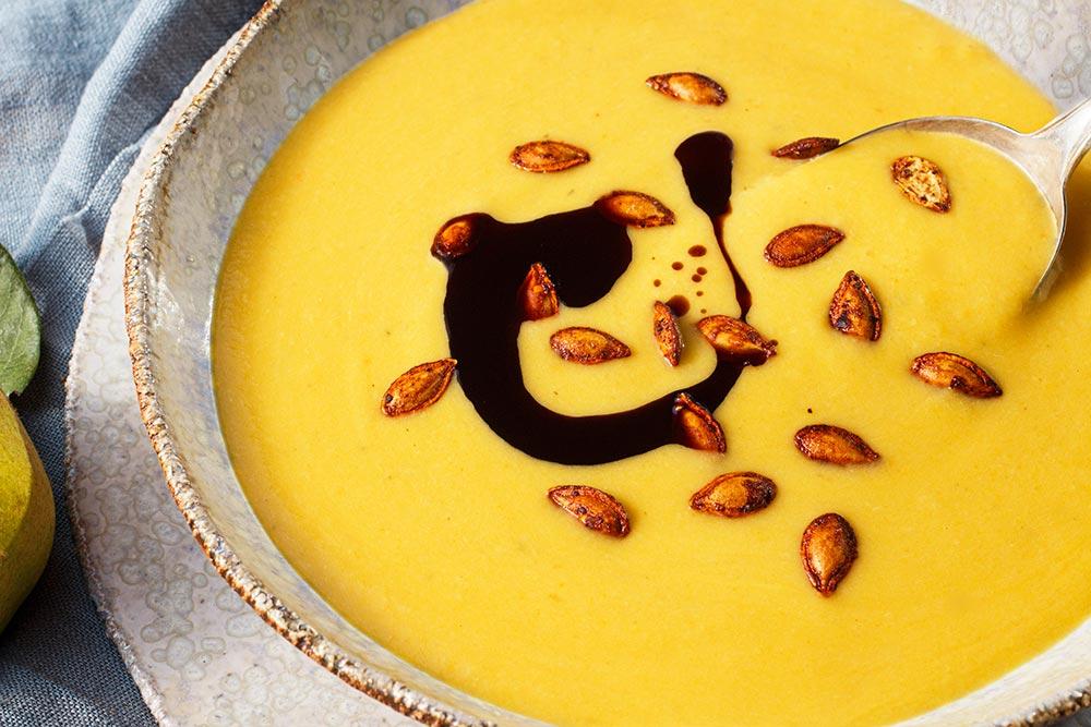Kürbis-Quitten-Suppe