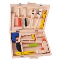 Kinder Werkzeugkoffer Lino aus Holz, mit 12 Werkzeugen ...