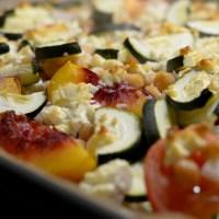 Ofengemüse mit Pfirsichen und Kichererbsen