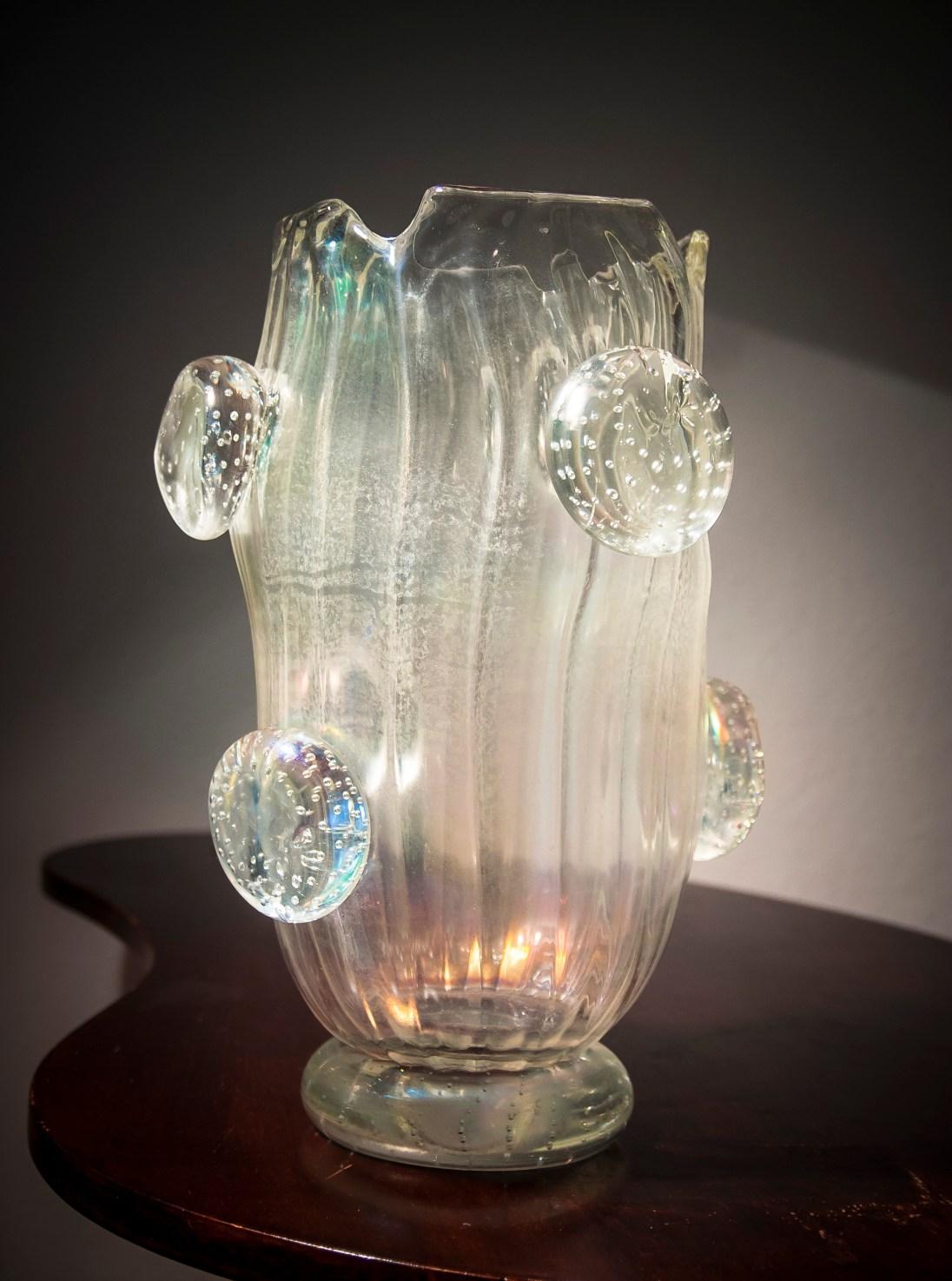 Alberto Dona Murano iridato glass vase