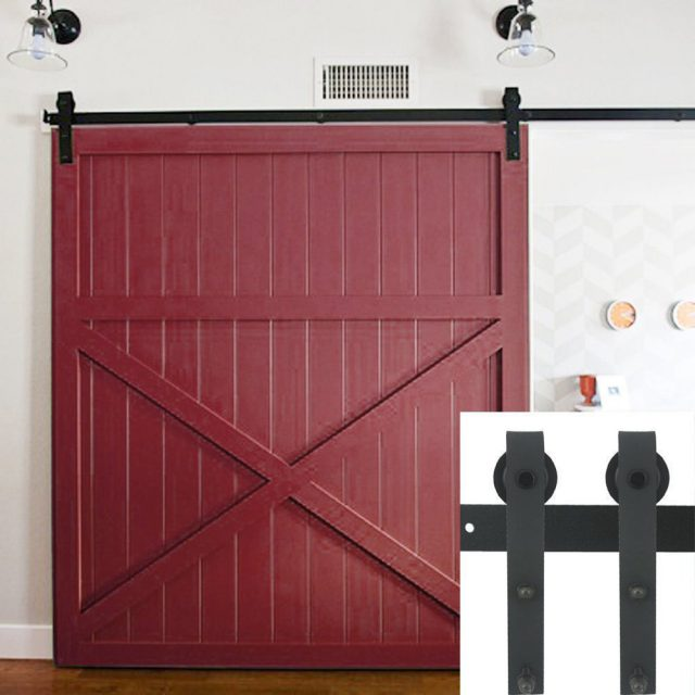 10ft Country Barn Wood Steel Sliding Door Hardware Closet