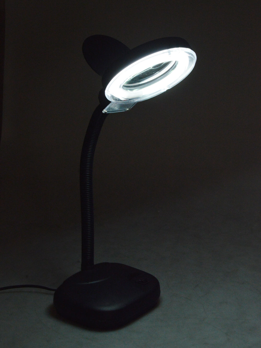 Black 5X 10X Tabletop Gooseneck Magnifying Magnifier Lamp