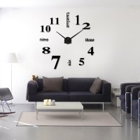 Modern Frameless Large 3D DIY Wall Clock Kit  Home Decor