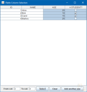 Programmatically Select JTable Column