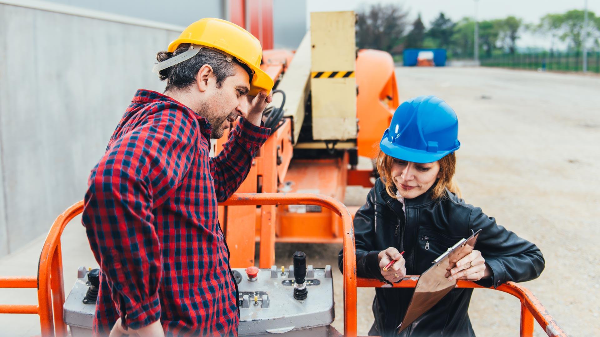Explaining a document at a construction site