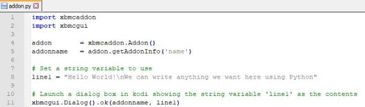 Addon code