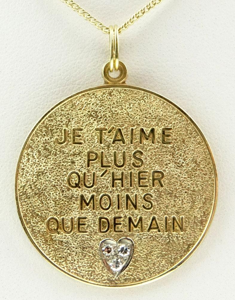 Je T'aime Plus Qu'hier Moins Que Demain : t'aime, qu'hier, moins, demain, Vintage, Karat, Yellow, Three, Diamond, Pendant, Chain, T'aime, Qu'hier, Moins, Demain