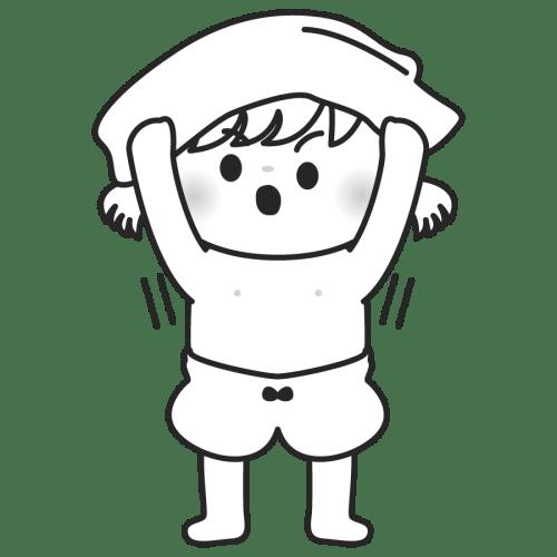 下着を脱ぐ子供のイラスト 女の子 パンツ 肌着 モノク 白黒
