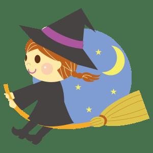 ハロウィンの魔女や黒猫のイラストフリー無料商業利用可能