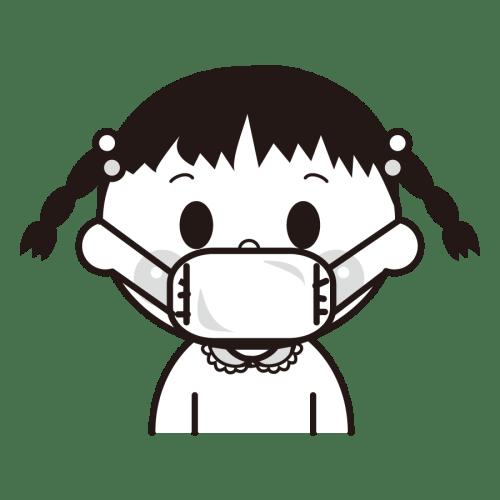 マスク 女の子 かわいい イラスト フリー 無料 白黒 モノクロ