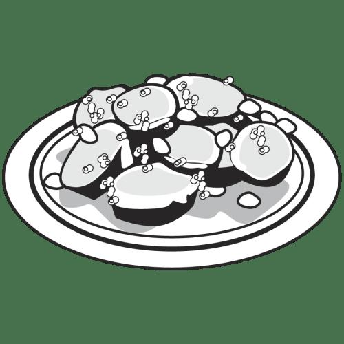 なす 炒め かわいい イラスト フリー 無料 白黒 モノクロ