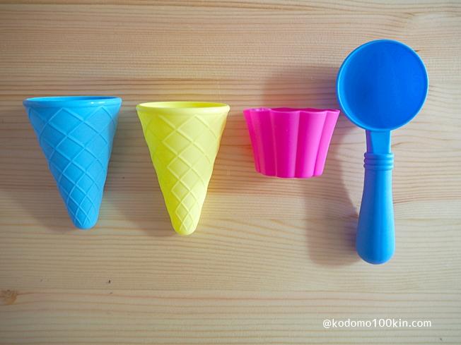 ダイソー お砂場遊びセットのレビュー アイスクリームの砂型のセット中身