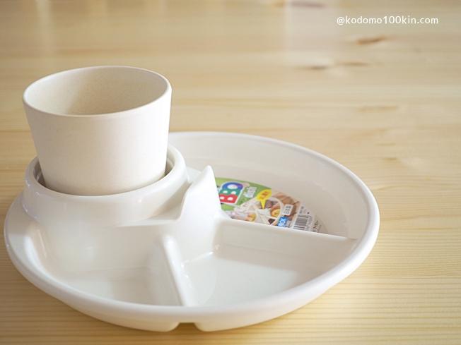 プラスチック仕切り皿バーベキューディッシュ コップを入れたところ