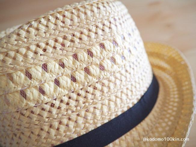 100均キッズ用麦わら帽子をアレンジ 中折れメッシュハットの素材感