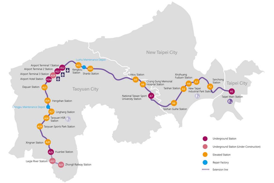 桃園空港MRT空港線路線図