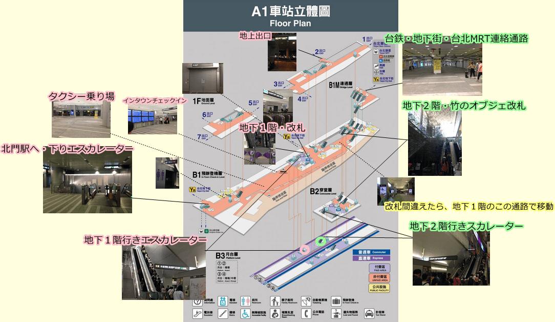 桃園MRT台北駅構内図