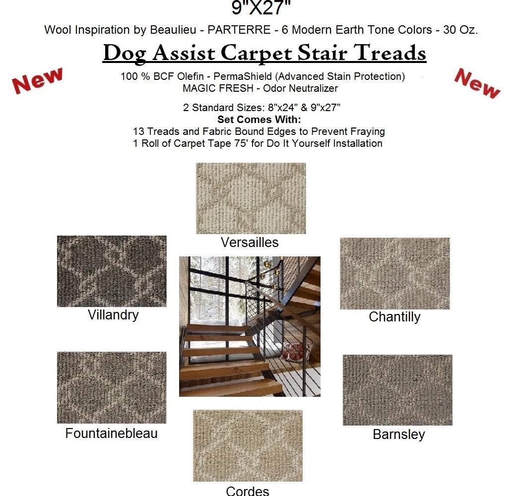 Parterre Ii Dog Assist Carpet Stair Treads | Wool Carpet Stair Treads | Flooring | Zealand Wool | Beige Carpet | Cat Pet | Hardwood Stairs