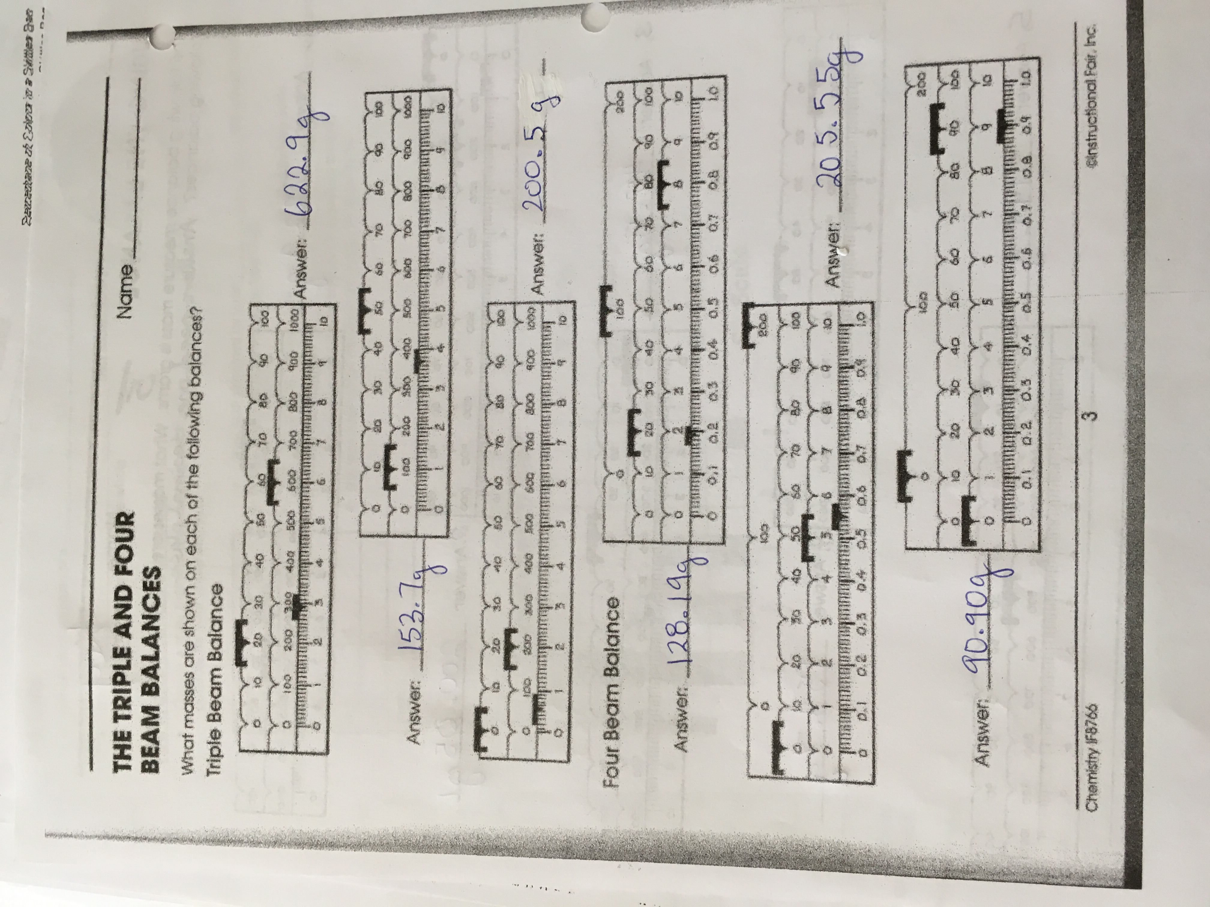 The Triple And Four Beam Balances Worksheet Answers
