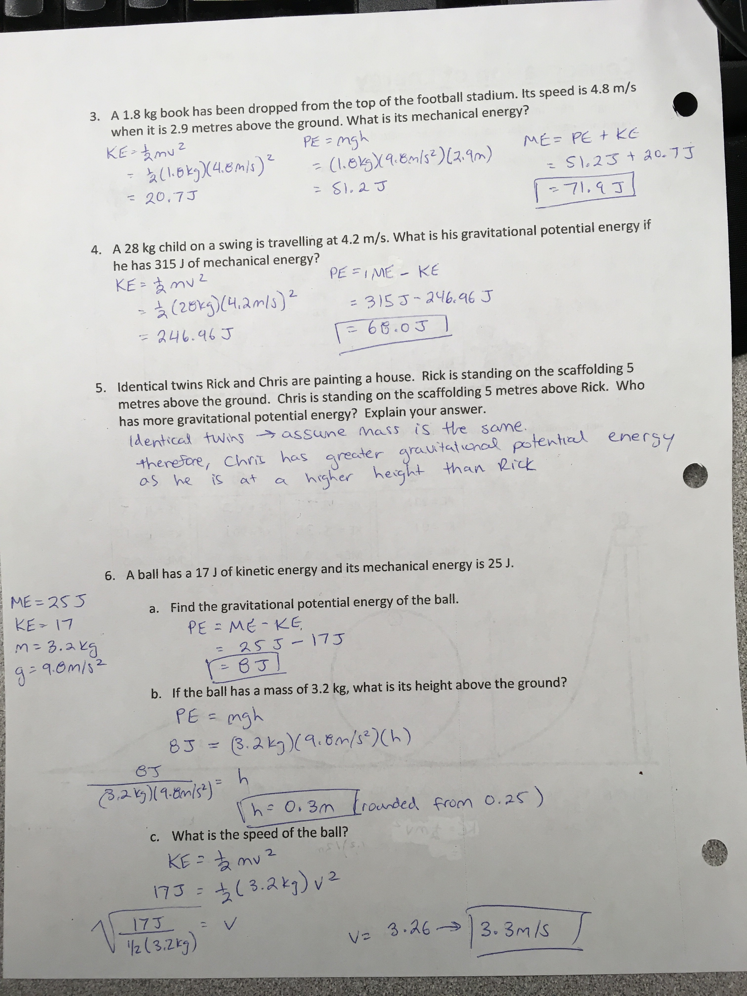 Mechanical Energy And Conservation Of Energy Answer Key
