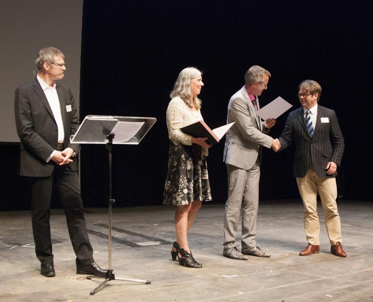 Dr. Ulrich Soénius, Claudia Bleier, Andreas Wolter bei der Verleihung mit Frederik Albrecht (Rechtsanwälte Albrecht)