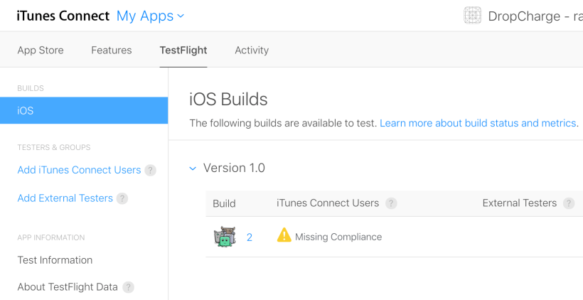 Next Click The Testflight Tab You May Notice A Yellow Warning Sign To Build D Like Send Internal Testers If This Is Case