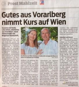 Zeitungsartikel über Köstliches aus Vorarlberg.
