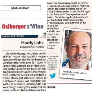 """Artikel über Hardy Lohs in der Kolumne """"Gsiberger z'Wian"""" in der Krone am Sonntag in Vorarlberg"""