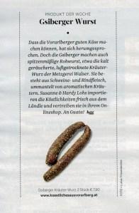 Beitrag über Köstliches aus Vorarlberg in der Beilage RONDO der Tageszeitung DER STANDARD am 23. Dezember 2016
