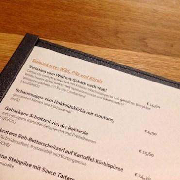 Blick in die Speisekarte des Restaurants Klein Steiermark in Wien