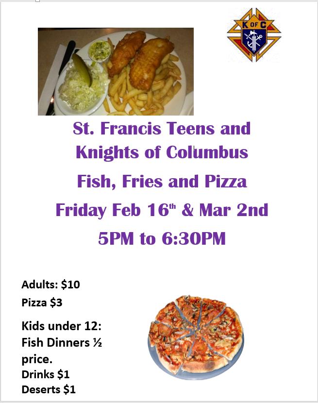 Knights Of Columbus Fish Fry Menu
