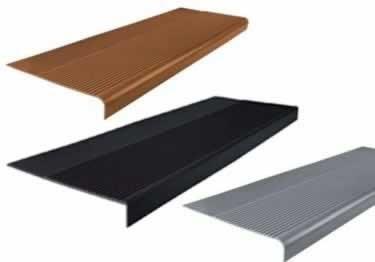 Rubber Stair Treads Non Slip Safety Rib | Decorative Rubber Stair Treads | Modern Exterior Stair | Pattern | Pie Shaped | Abrasive | Dark Wood Step