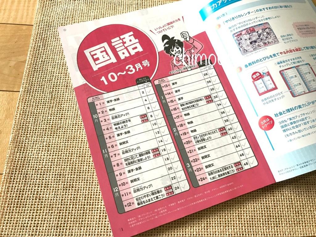 実力アップチャレンジ「国語」挑戦コースの扉ページ(2020年度10月号~3月号)