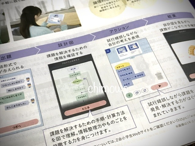 Z会小学生コース5年生無料資料「入会案内」プログラミングのページ(2021年度版)