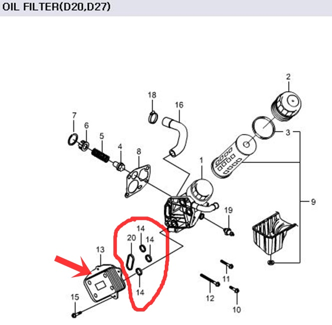 Genuine Oil Cooler & Gasket Ssangyong RODIUS ACTYON KYRON