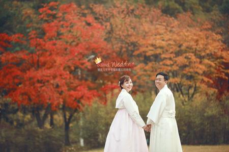 Nadri studio fall leaves korea prewedding fall season