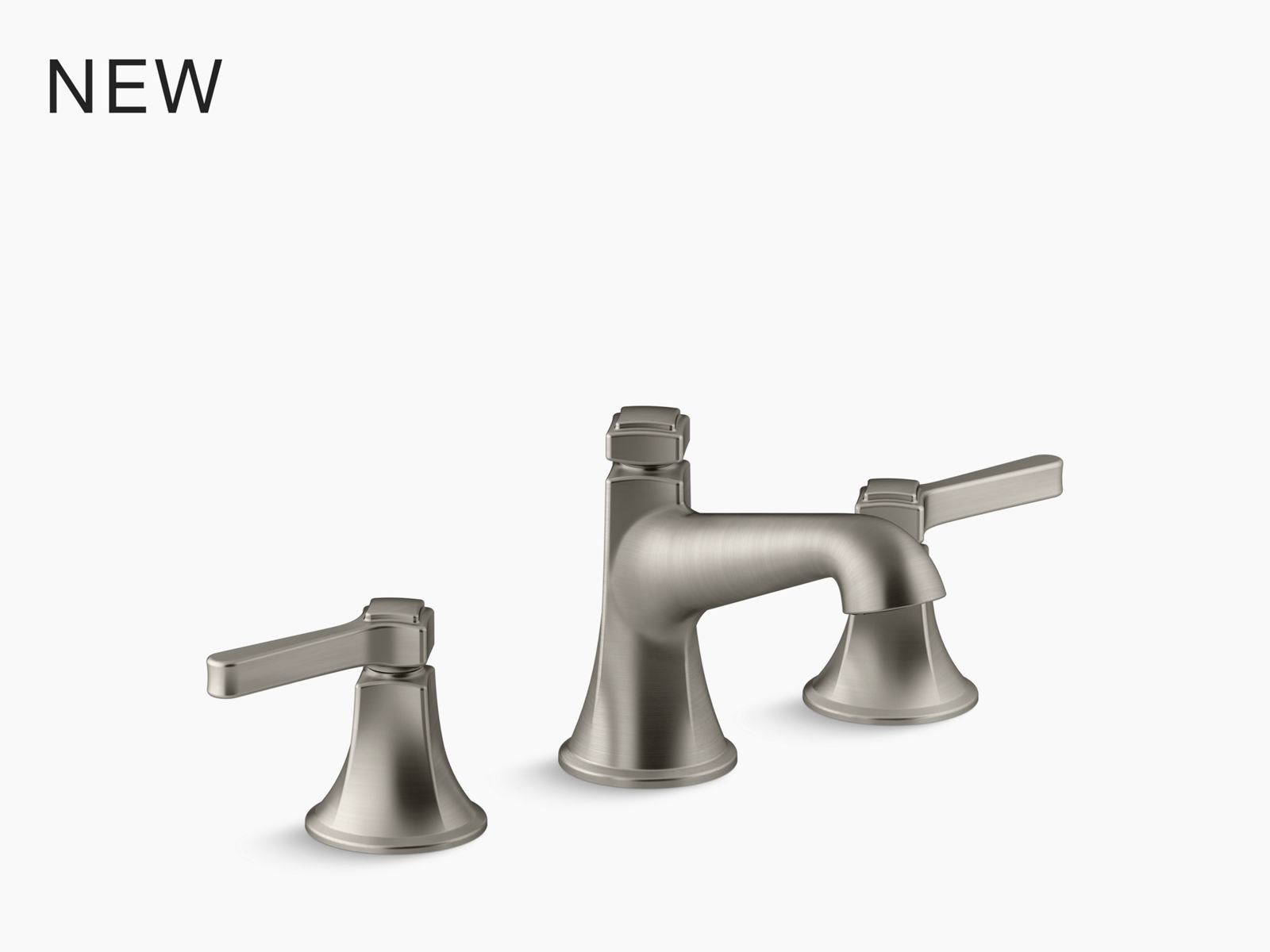 artifacts deck mount bridge kitchen sink faucet with prong handles and sidespray