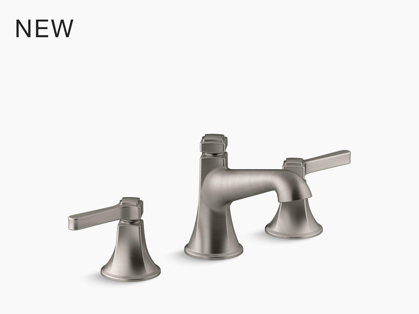 parallel two handle deck mount bath faucet