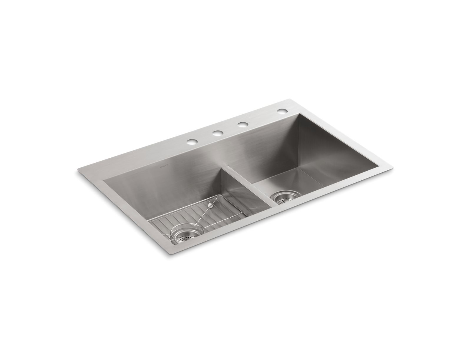 k 3839 4 vault smart divide kitchen sink with four faucet holes kohler