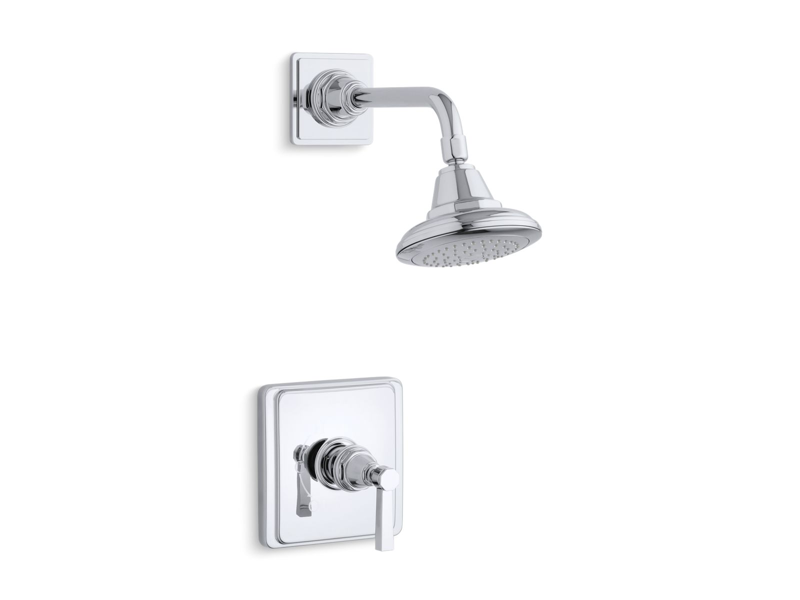 k ts13134 4a pinstripe pure rite temp shower valve trim with lever handle and 2 5 gpm showerhead kohler