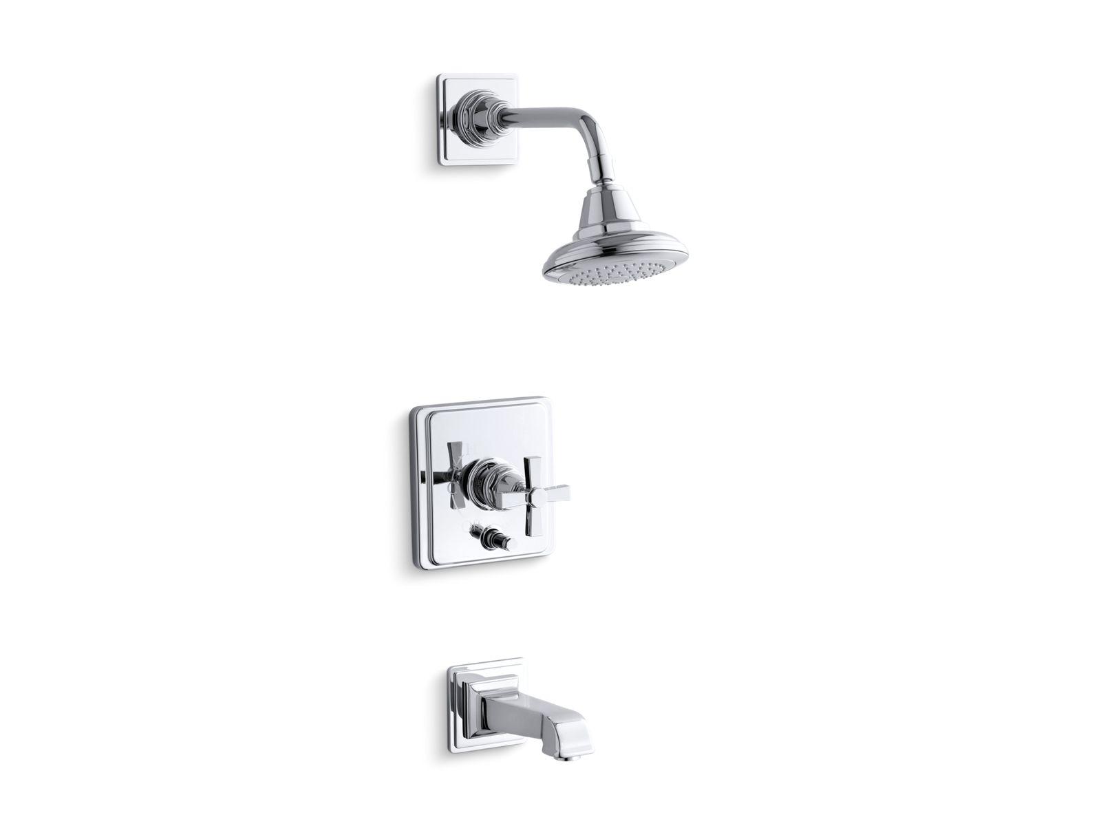 k t13133 3a pinstripe bath and shower faucet trim with pure design kohler