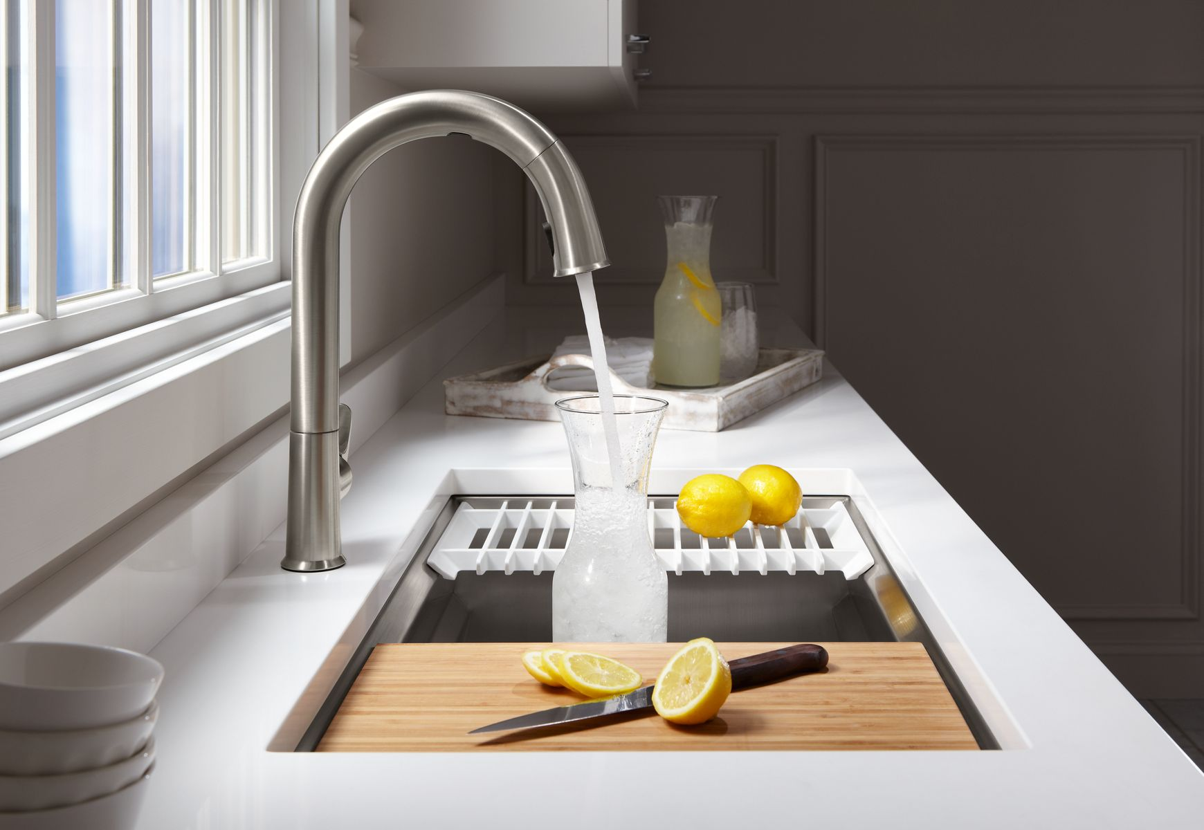 kitchen sink faucets clocks wine theme sensate touchless faucet with kohler konnect stainless steel rack 32 3 4 x 16 for k 5283 strive
