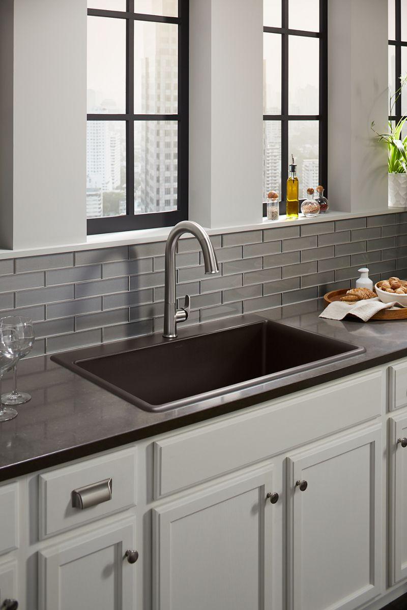 kitchen sinks non skid rugs farmhouse stainless steel more kohler top mount