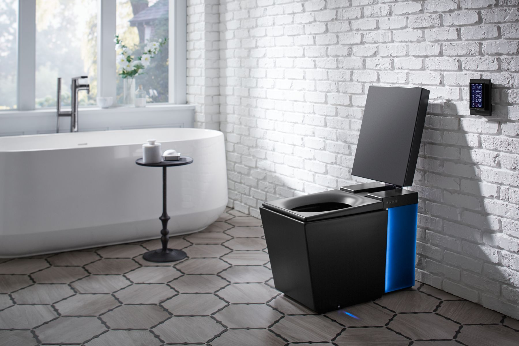 kohler kitchen sink tall garbage can brings sleek honed black color option to its ...