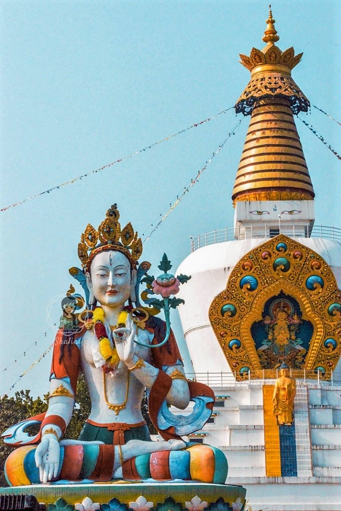 The Great Stupa and White Tara at Mindrolling Monastery