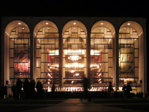 Photograph of the facade of the Metropolitan Opera House at Lincoln Center, New York. Taken on 12 March 2004 by Paul Masck and released with a Creative Commons license on 30 July 2005 by the photographer.