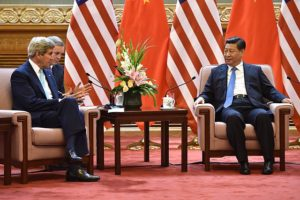 U.S. Secretary of State John Kerry meeting Chinese President Xi Jinping in 2014.