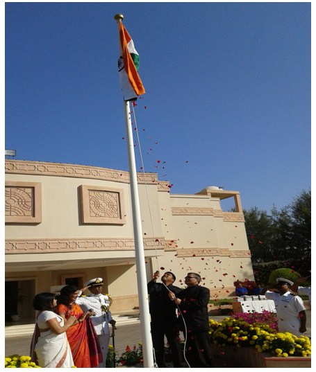 Indian Ambassador in the Sultanate of Oman H. E Indra Mani Pandey unfurled the Indian tricolor flag on the occasion of the 67th Republic Day at Indian Embassy in Muscat on Tuesday.