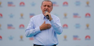 turkish president tayyip erdogan greets his supporters during an election rally in istanbul