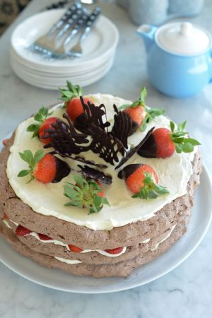 Layered Chocolate Meringue Cake With Fresh Strawberries