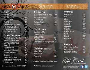 Salon Menu Koi Nails Nail Salon Ellicott City MD